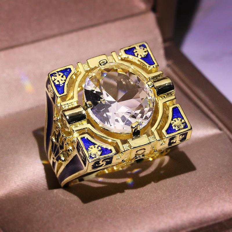 Frosted ice anillo anillos de pareja de damas anillo de mujer señores caballeros anillo color oro nuevo