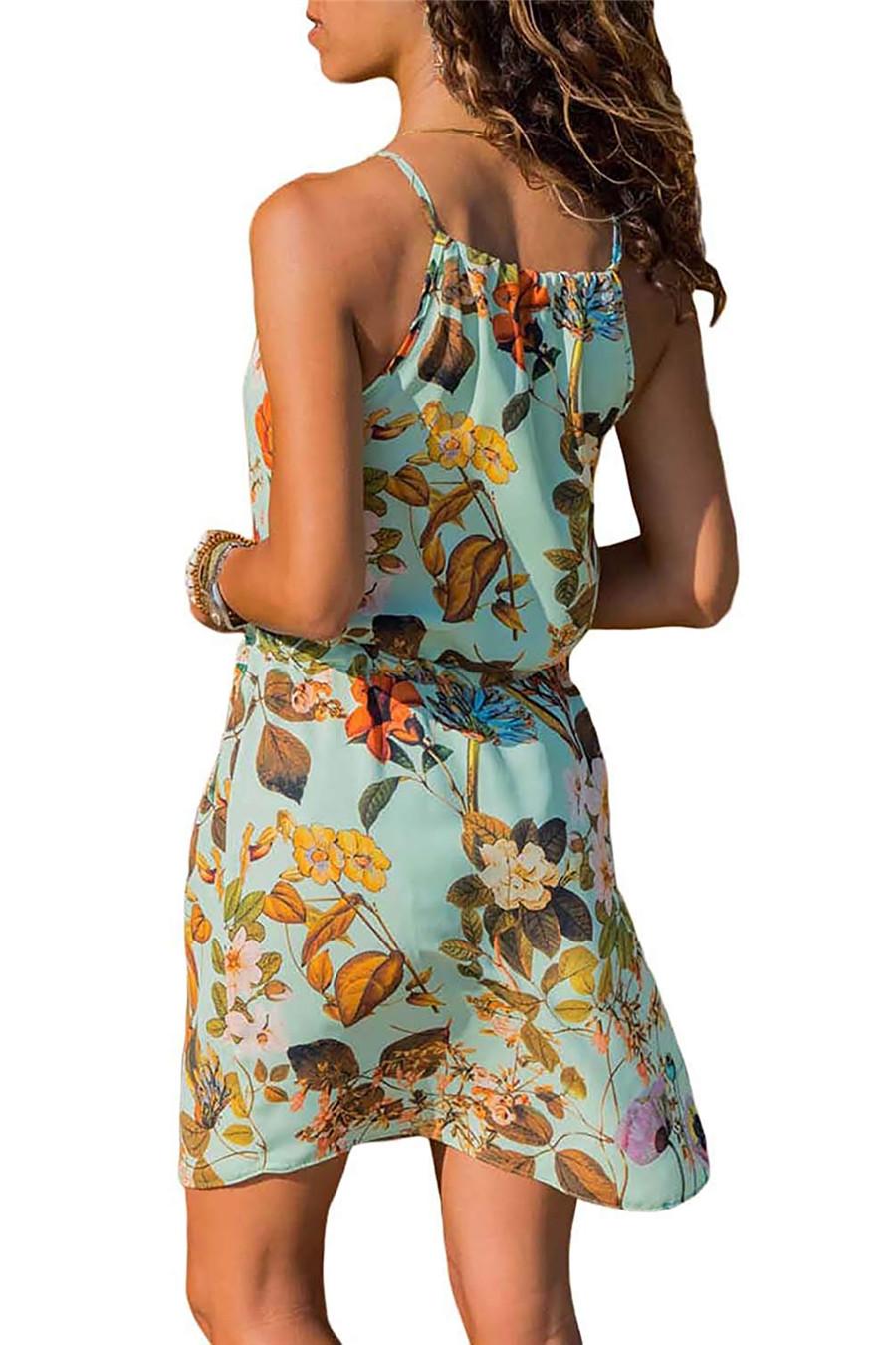 Gladiolus Chiffon Women Summer Dress Spaghetti Strap Floral Print Pocket Sexy Bohemian Beach Dress 2019 Short Ladies Dresses (40)