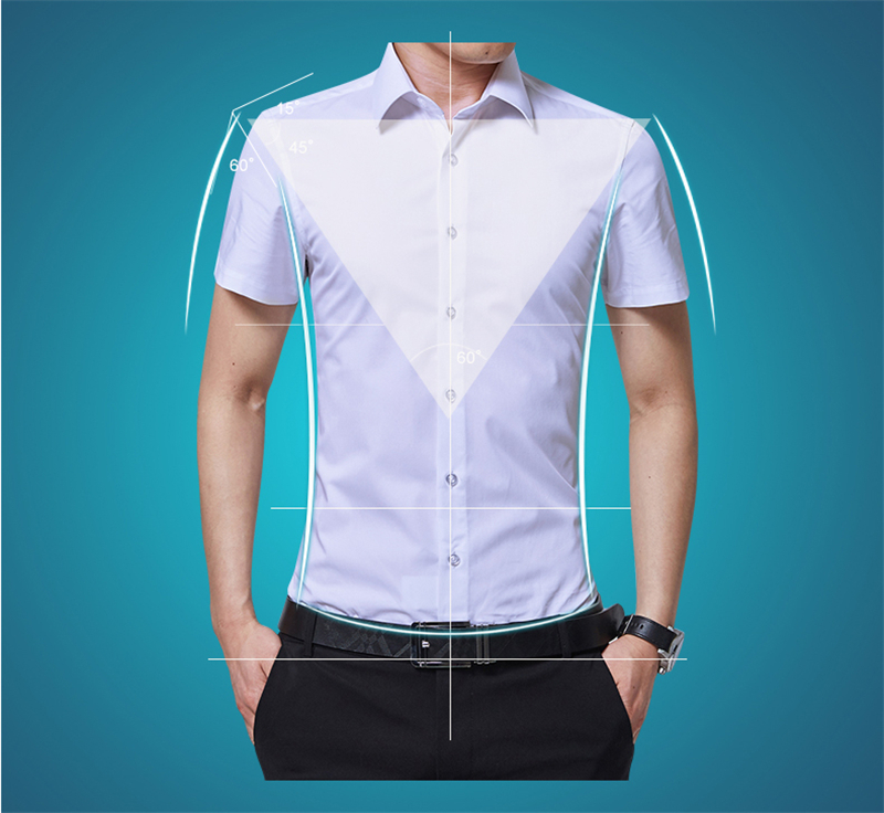 BROWON Brand New Formal Shirt Men Short Sleeve Shirt Turn Down Color Slim Fit Casual Shirt Plus Size M-5XL Camisa Masculina03