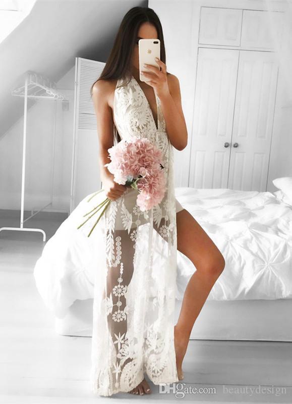 2018 New Design Sleeveless Front Split Mermaid V-neck Full Lace Sexy Floor length Wedding Dress Sheath Cheap Bridal Gowns