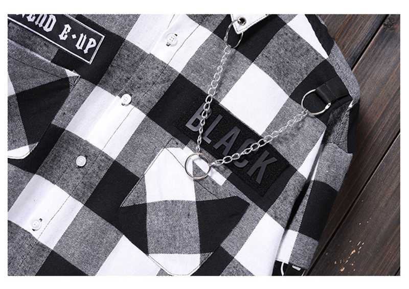 Red And Black Plaid Patchwork Shirt Men (20)