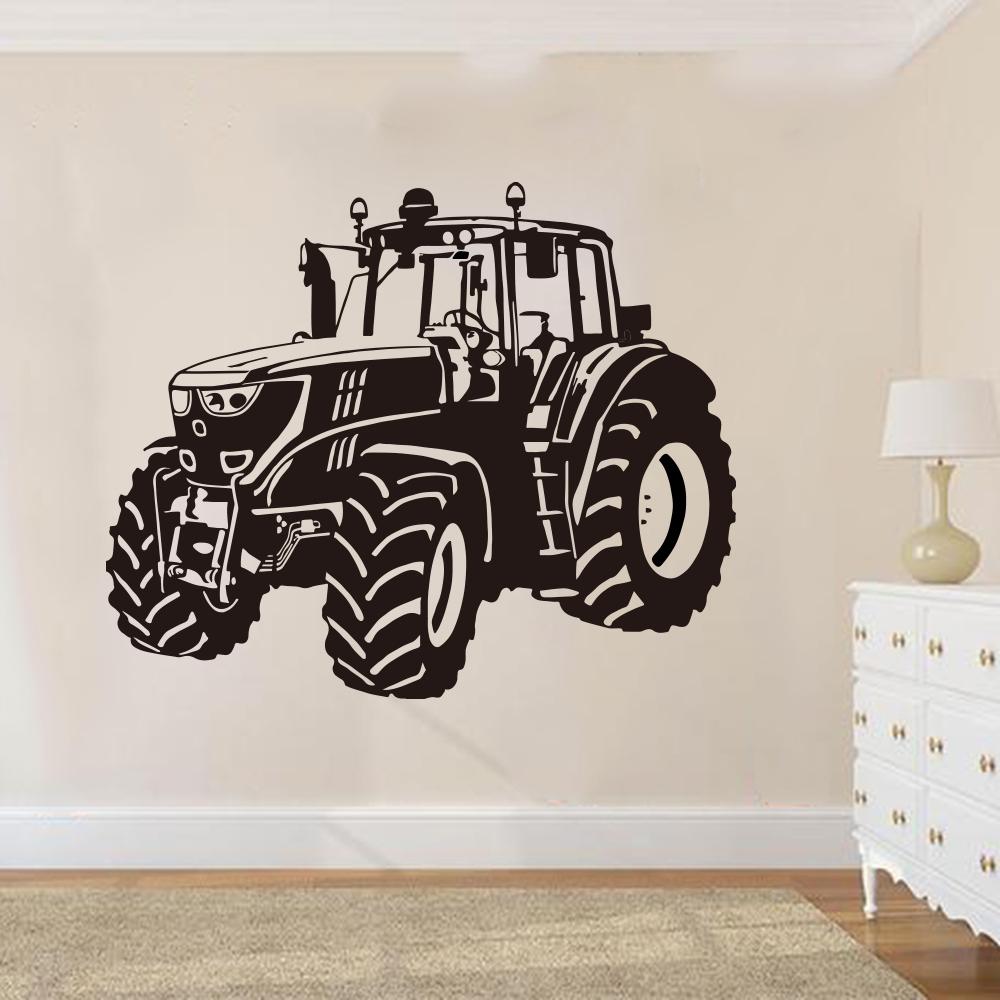 Large Farm Driving Tractor Wall Sticker Nursery Kids Room Cartoon Tractor Car Vehicle Wall Decal Playroom Vinyl Decor (2)
