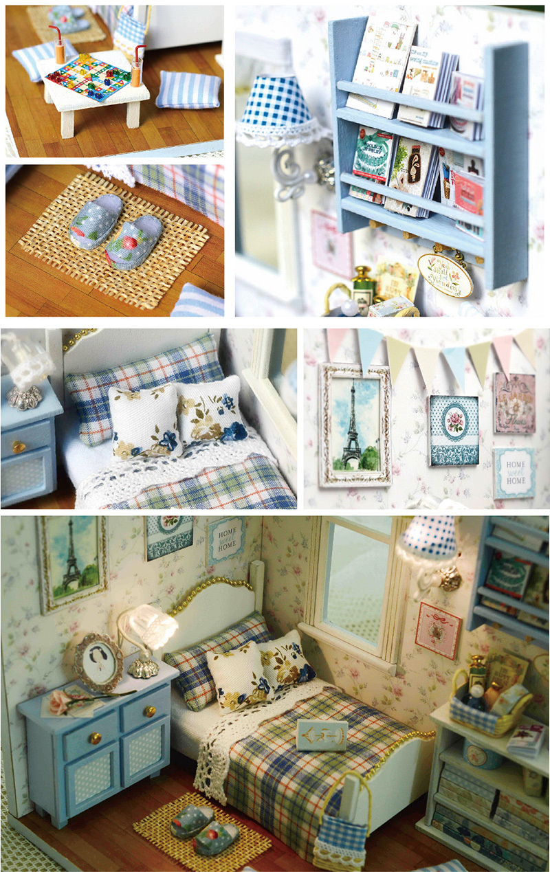 Sunshine Overflowing 3D DIY Wooden Doll House Handmade Mini Puzzle Miniature Furniture Toy Dollhouse Educational Toys Gift (2)