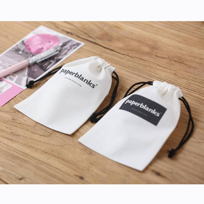 Personalized White Cotton Canvas Jewelry Packaging Wedding Favor Bags Black Drawstring Custom Logo Chic Small Pouch
