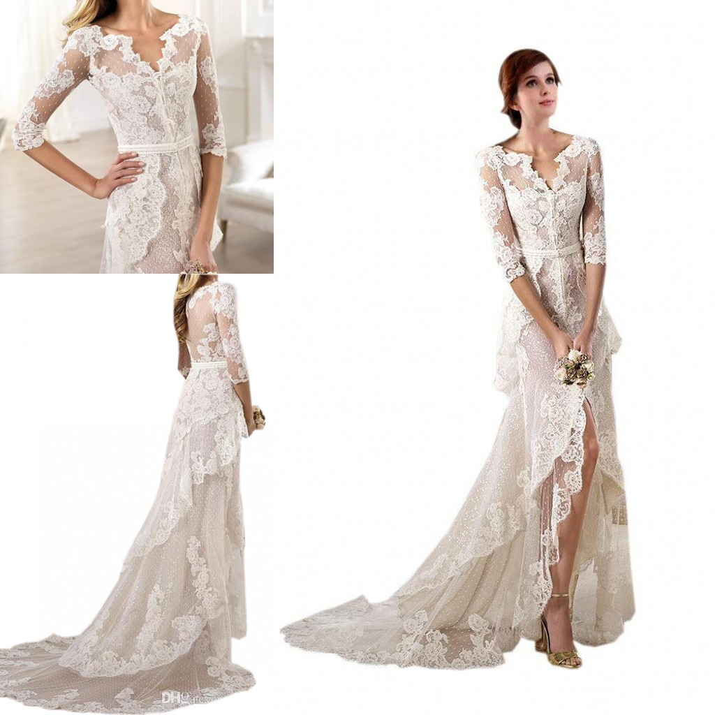 Sexy Asymmetrische Spitze Brautkleider V-Ausschnitt Schichten Kurzes  Vorderes Langes Hinterseitiger Rückenapplikation Günstige Hochzeit  Brautkleider