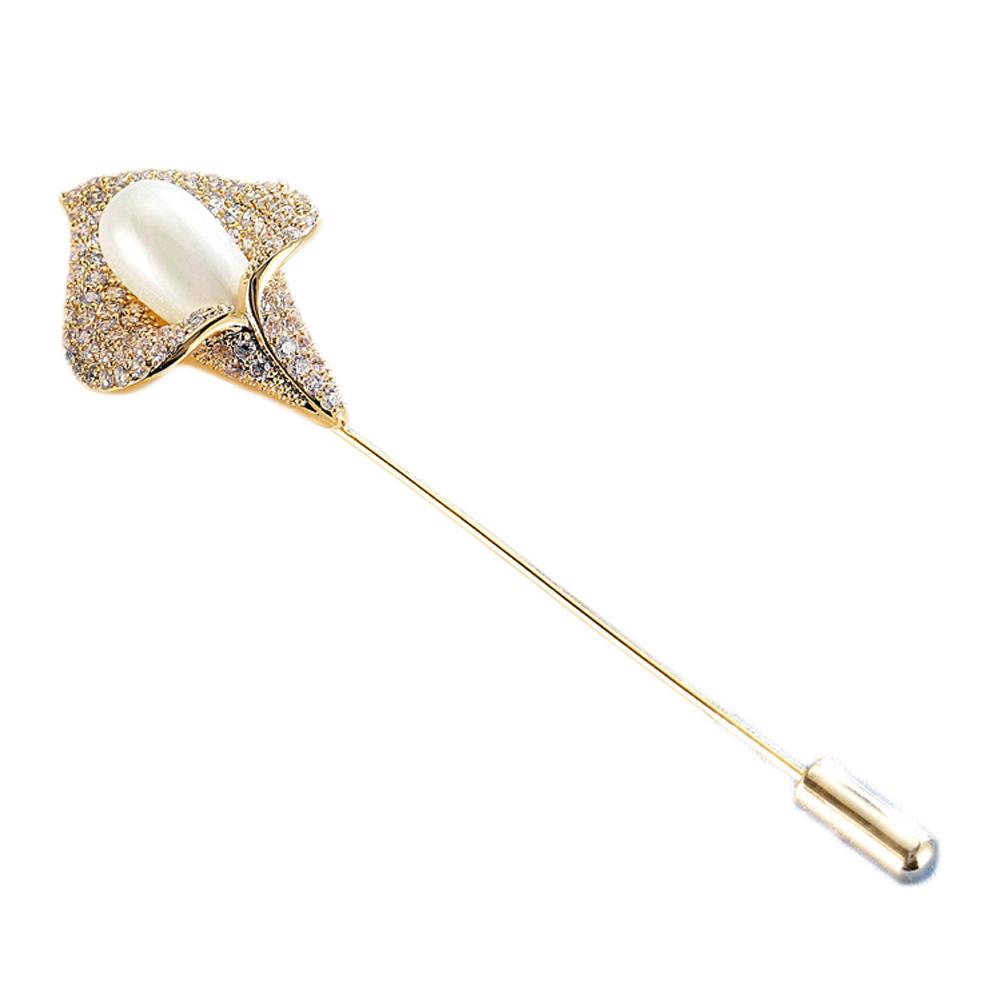 Imitation Pearl Big Flower Brooches for Women Costume Jewelry Rhinestones Crystal Brooch Pins