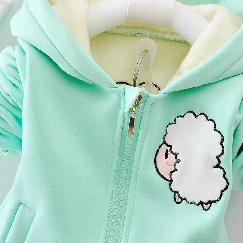 Autumn Winter Children Boys Girls Fashion Clothing Sets Baby Cartoon Hooded Jacket Pants /sets Infant Add Cotton Tracksuits J190712