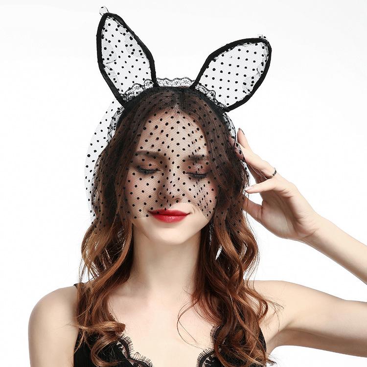 Party Style femmes /& enfants Bell Filles Oreilles De Chat Bandeau cheveux dentelle noire Hairband