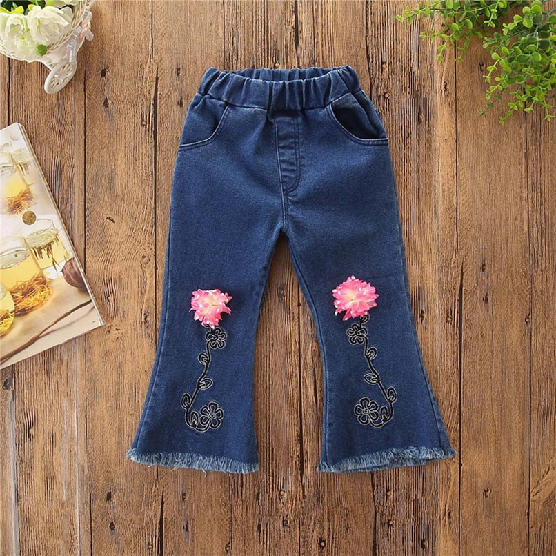 Winter Kids Girls Clothes Girls Pants Toddler Children Kids Baby Girls Floral Flare Denim Pants Casual Trousers Clothes S25#F (5)