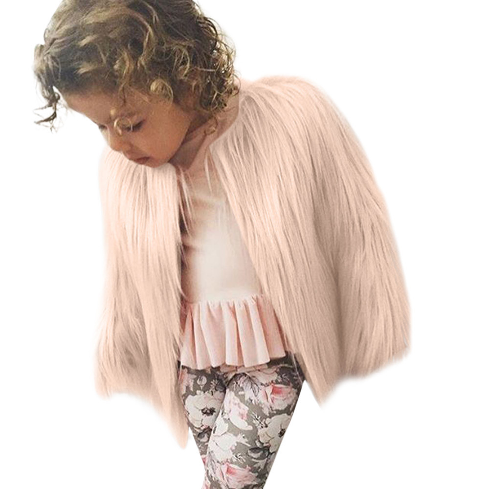 good quality Fashion baby girl coat Toddler Kids Baby Girl Winter Warm Clothes Faux Fur Thick Solid Coat Outwear veste enfant fille