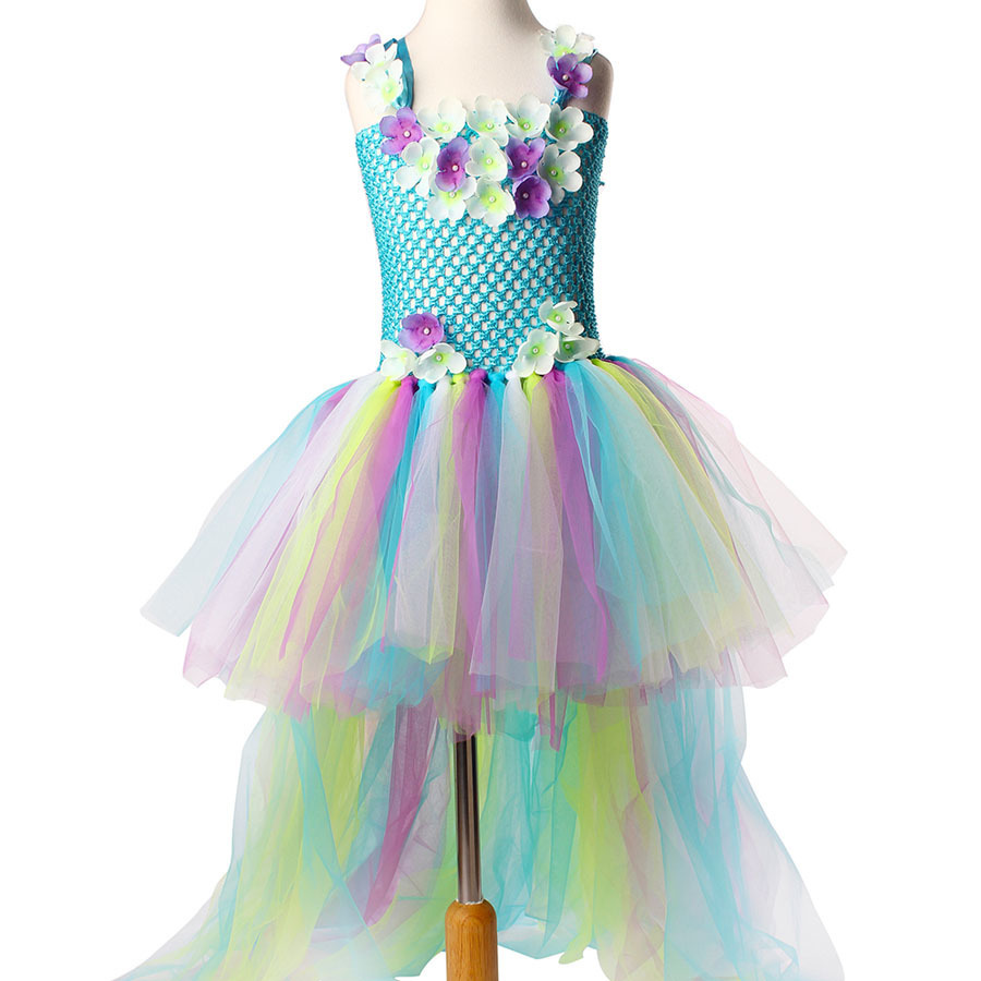 Exquisite Peacock Water Fairy Tutu Dress Girls Birthday Festival Party Pageant Costume Kids Teal Turquoise Purple Ball Gown Dress (2)