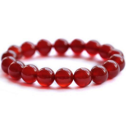 Élastique tigre Bracelet Chanceux Chinois 8 mm naturel rouge organique cinabre Amulette
