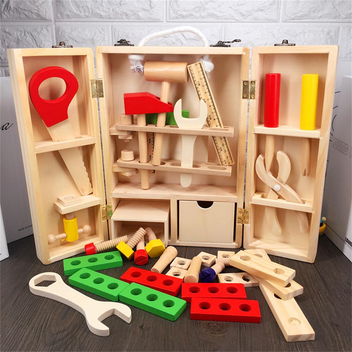 Giocattoli in legno bambini Set di giocattoli in legno ragazzi Ragazzi Gioco in finta giocattolo Simulazione Manutenzione Cassetta attrezzi Dismantling Toys Regalo di Natale