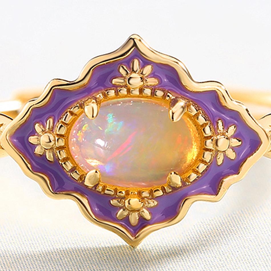 ALLNOEL 925 Sterling Silver Gemstone Rings For Women Vintage Real Natural Fire Opal Enamel Rainbow Ring Wedding Fine Jewelry (7)
