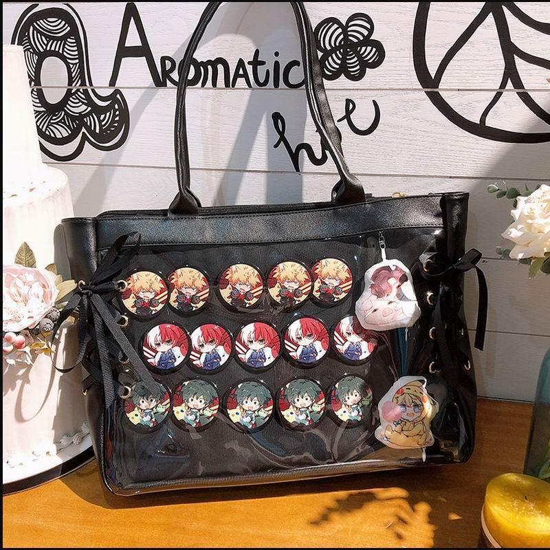 Girl/'s Transparent Shoulder Bag Lolita Lace Bow Handbags Itabag Cosplay Fashion