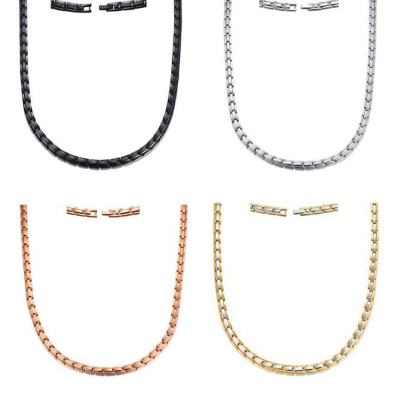 Corrente de aço inoxidável inlay ímãs colar womenman 4 cores opcional heathy preto ímãs colar presente da jóia do natal