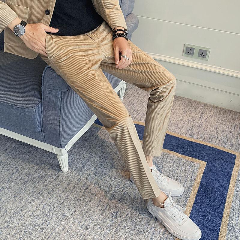 Men/'s slim fit velours droite Longue Pantalon Loisirs Business Pantalon Pantalon Tailles
