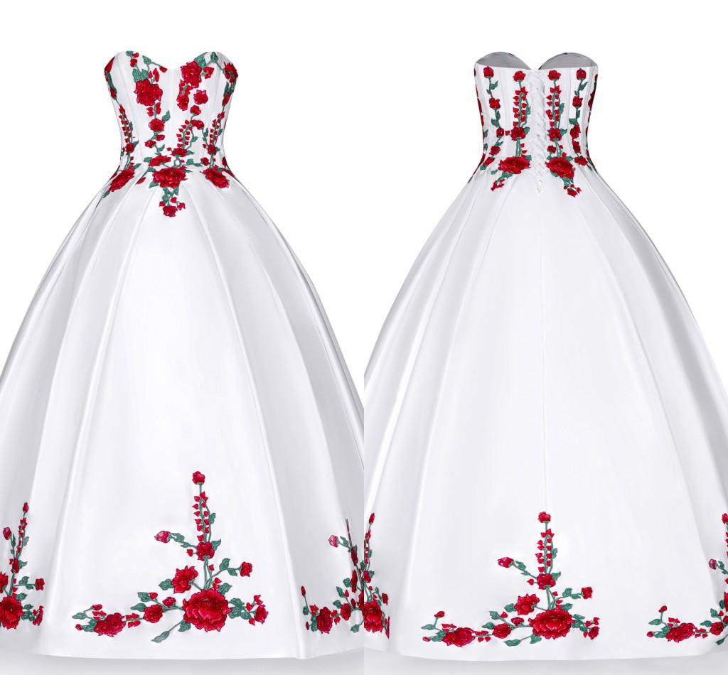 weiß rot grün stickerei quinceanera kleider perlen trägerlosen lace-up  satin abendkleid graduation abendkleider lange formale süße 16 kleid
