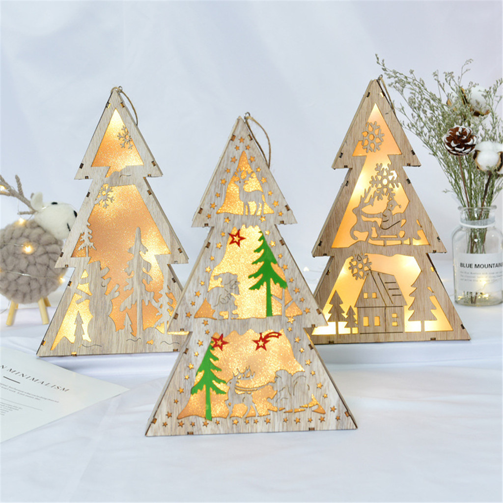 Led Light Wood Xmas Tree Cute Christmas Tree Ornaments Home Festival Party Window Room Decoration Lamp Kids Table Decor Gift Christmas Decorations For