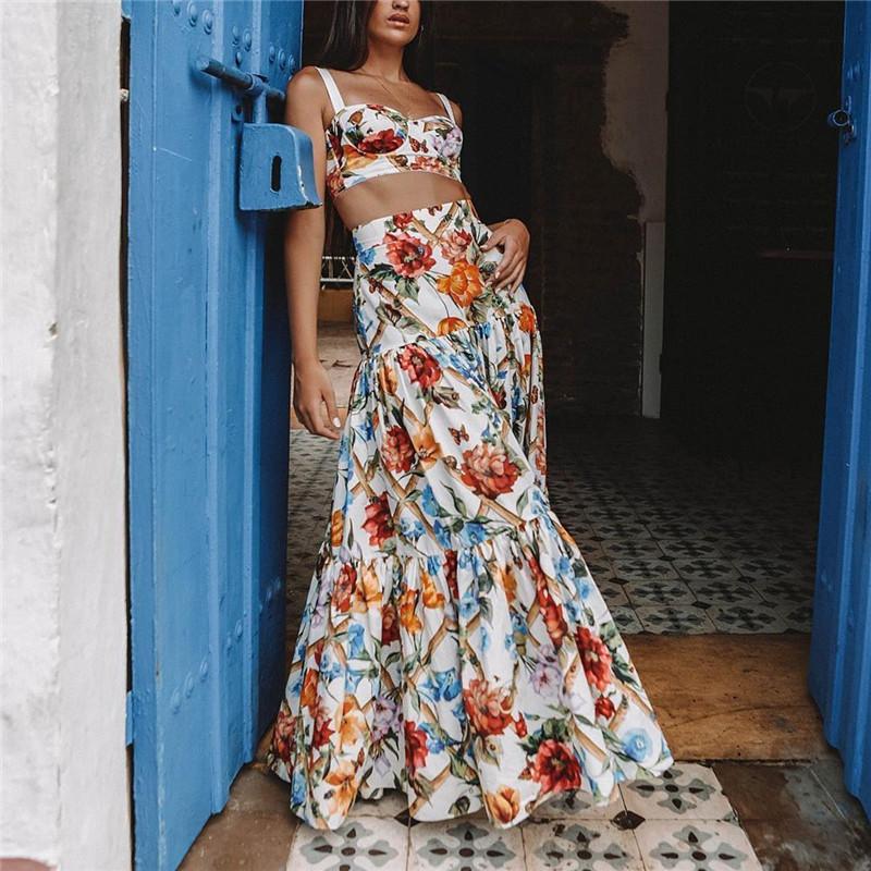 Plus Size 3xl 2019 Frauen Sommer Bohemian Beach Print Kleid Sexy Party Night Elegante Maxi Weißes Kleid MX19070306