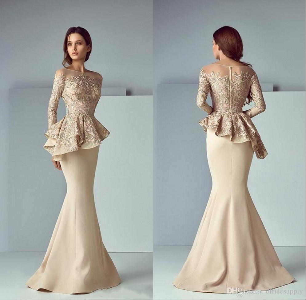 Dubai Arabisch Champagne Spitze Stain Peplum Mermaid Mutter der Braut  Kleider Lange Sheer-Ausschnitt Langarm-elegante Abend-formale Kleider