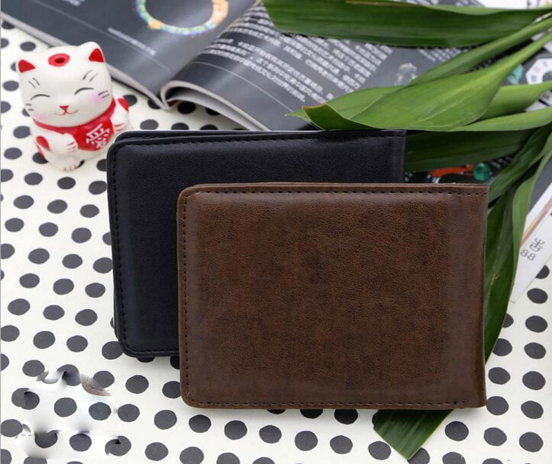 brown mens sublimation wallet faux leather blank photo holder wholesale black
