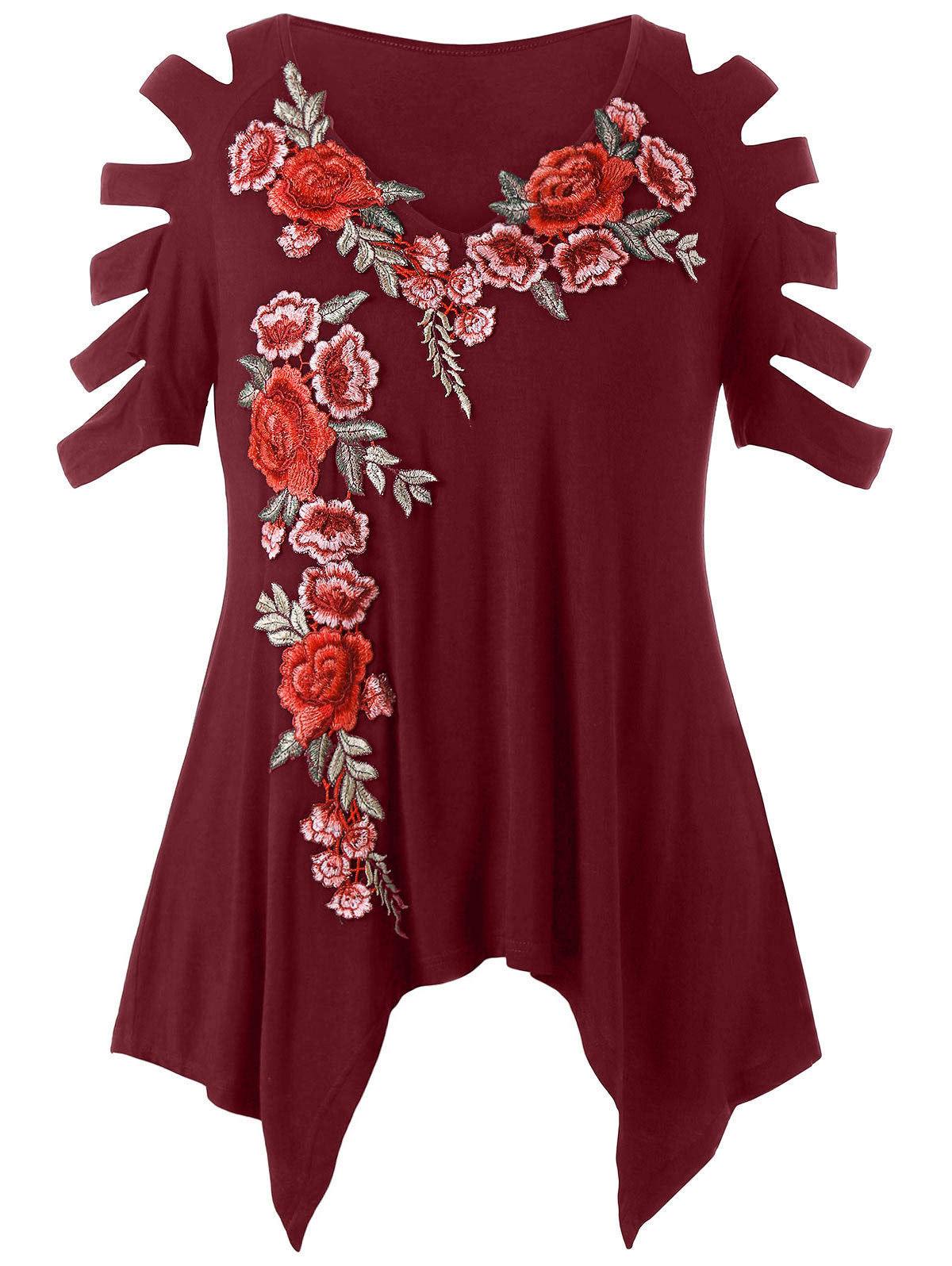Wipalo Plus Size 5xl T-shirt Women Ladder Cut Embroidery T Shirt Summer Tops Causal V-neck Half Sleeve T-shirts Ladies Clothes Y19042501
