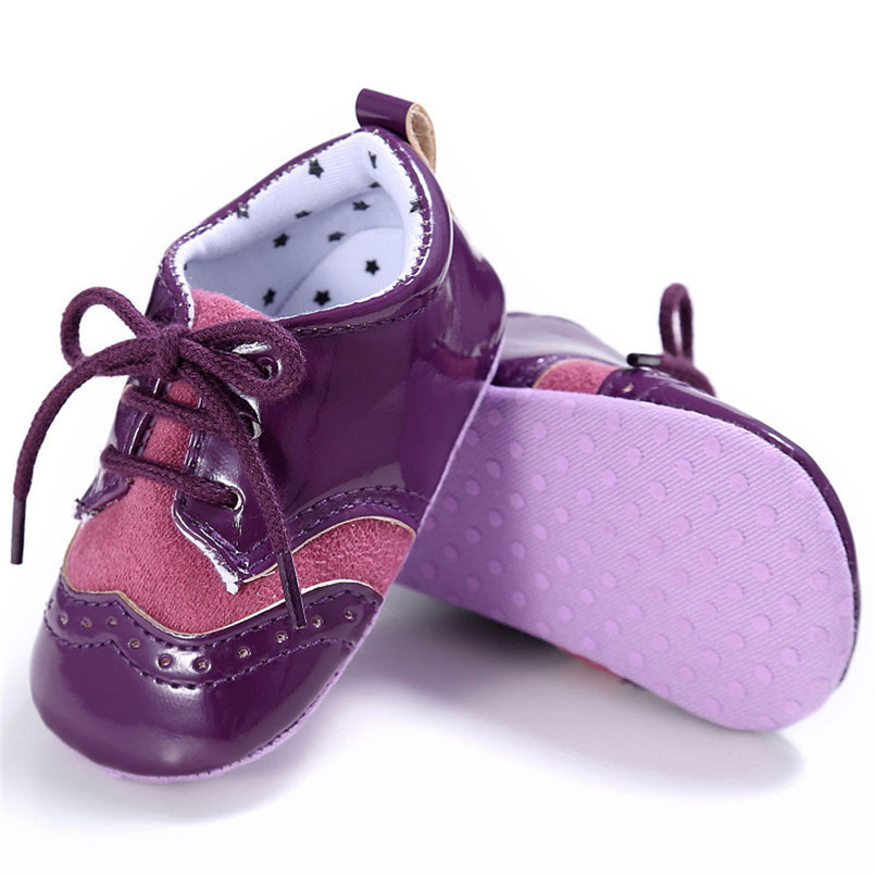 4 Color Baby Girls Shoes Fashion Newborn Infant Baby Girls Solid Lace-Up Shoes Soft Sole Anti-slip Sneakers First Walker M8Y04 (28)