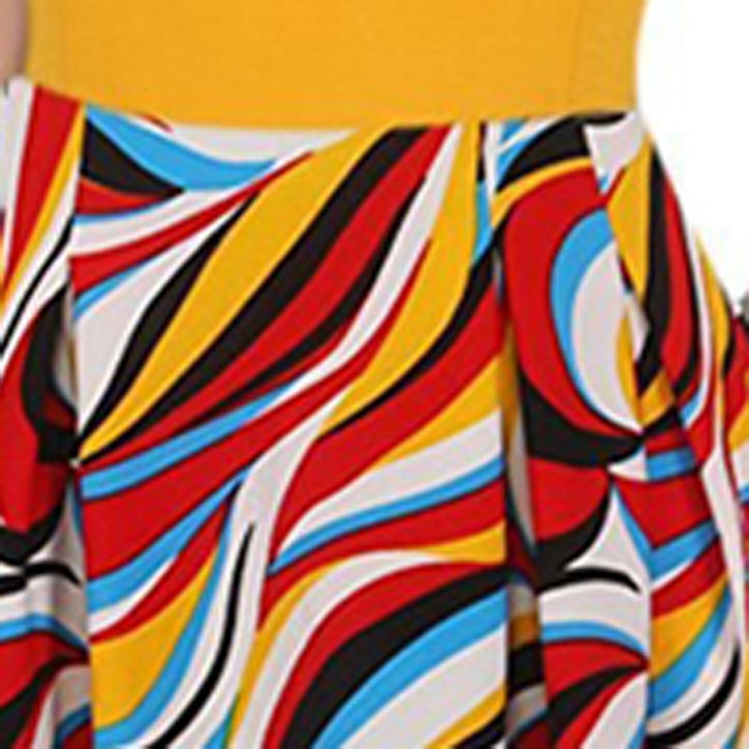 Mode Frauen Mode Rundhals Kurzarm Blumendruck Kleid Mode Kleidung, Schuhe Accessoires
