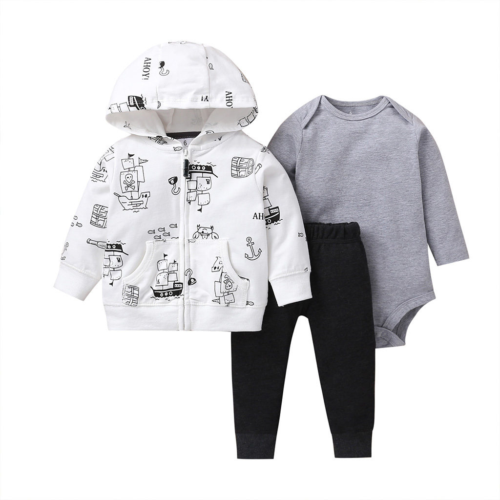 long sleeve hooded coat+gray bodysuit+pants black for baby boy outfit 2019 autumn clothes newborn set babies girl fashion print