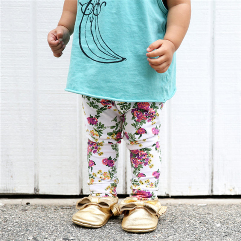 Girls Pants Fashion Toddler Infant Baby Girls Full Pants Flowers Printed Faux Cotton Skinny Pants Suit For 6-24M Baby M8Y09 (6)