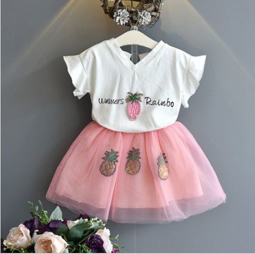 summer 2019 girls outfits short sleeve v-neck T-shirt tops+pink mesh skirt kid girl clothes set children boutique clothing 3-7Y