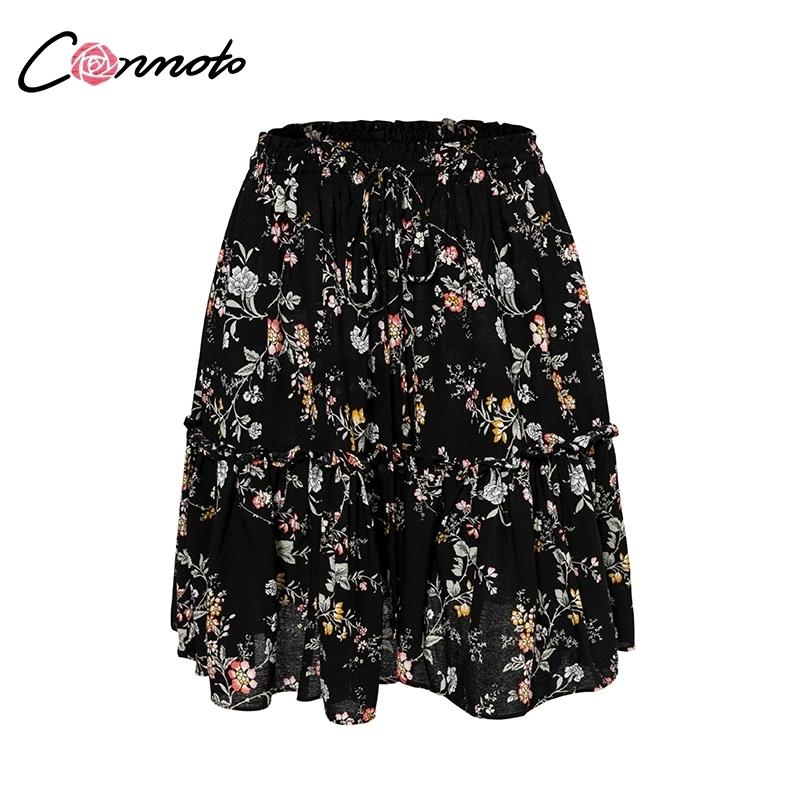 Conmoto Floral Impression Noir Femme 2019 Jupes Femmes Casual Chaussures Sexy Jupes Courtes Féminine Taille Haute Boho Jupes Y19071601