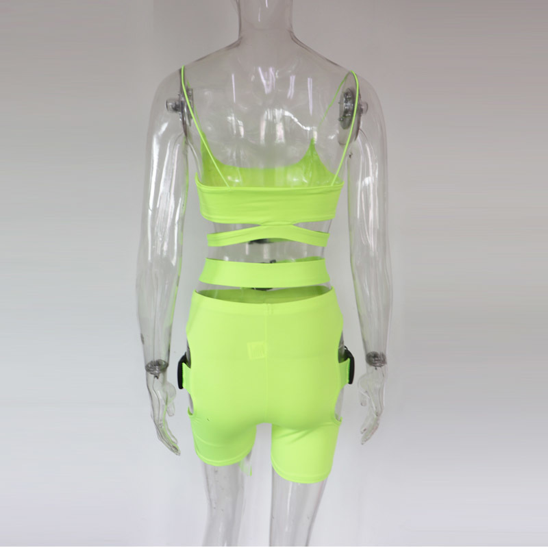 Beyprern Hot Girl Cut Out Neon Green Buckle Shorts Set Women Tight Buckle Festival Suits Two Piece Night Out Outfits Clubwears Q190506