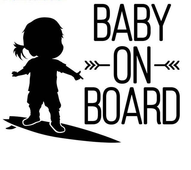 Bébé sur Planche de surf à Bord De Coupe Autocollant Vinyle Autocollants Pour Voiture