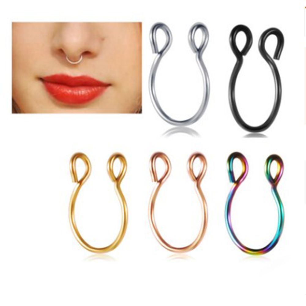 Fire Opal Non Pierced Fake Septum Ring,Nose Ring