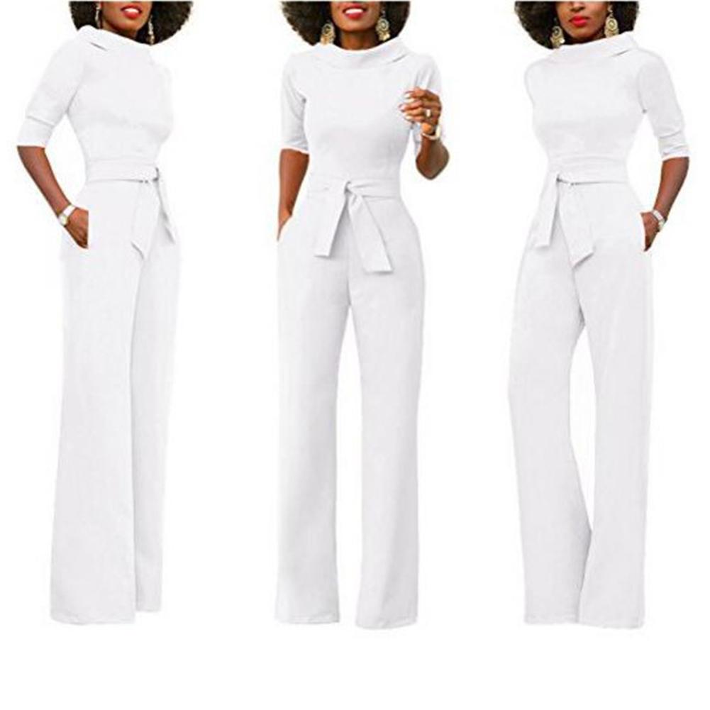 Спортивный костюм для женщин Комбинезон Элегантный комбинезон с отложным воротником Широкие брюки ноги Брюки женские комбинезоны комбинезон комбинезон женские брюки SH190702