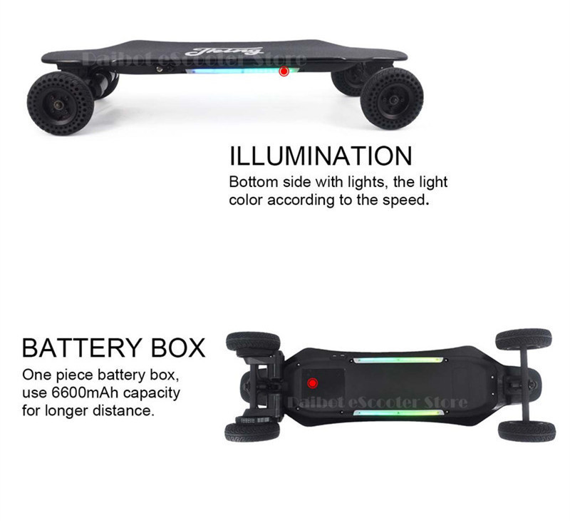 Daibot Four Wheels Electric Scooter Electric Scooters Colorful Lights 6 Inch Powerful 2000W 40kmh Electric Scooter Skateboard (22)