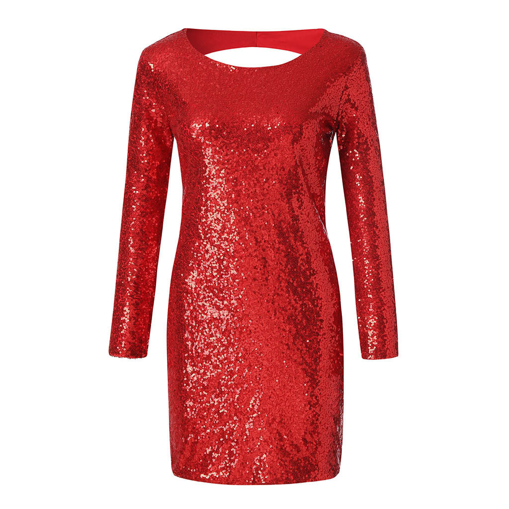 Sequin Sexy Backless Women Long Sleeve Flapper Tight Buttocks Robe Club Wear Party Dress Woman Clothes Red Black Champagne J190621