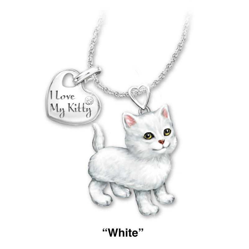 Black Zinc Alloy HOUSE CAT Pet Kitten Animal Cross Necklace For Men And Women 24 Inches
