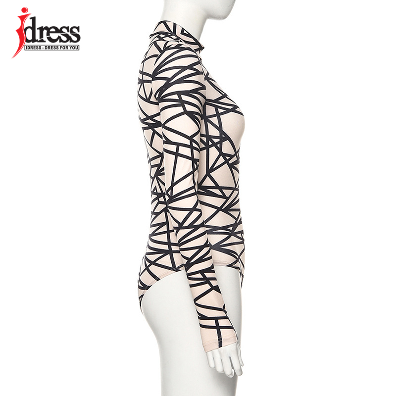 IDress 2020 New Long Sleeve Bodycon Bodysuit Sexy Patchwork Print Body Suit Tops Women One Piece Jumpsuits & Rompers Overall (11)