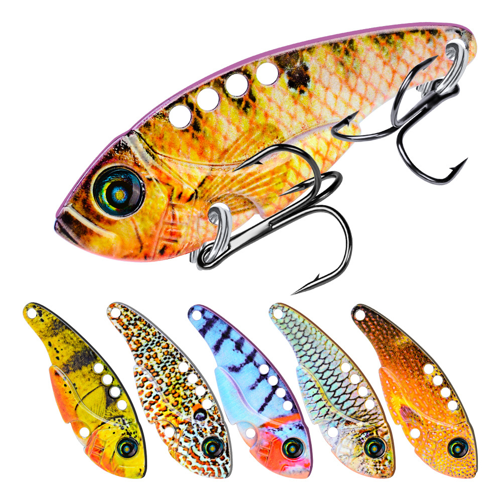 4PCS 5.5cm//11g 3D Eyes Fishing Metal Bait Crankbaits Lures Bass VIB Blade Tackle