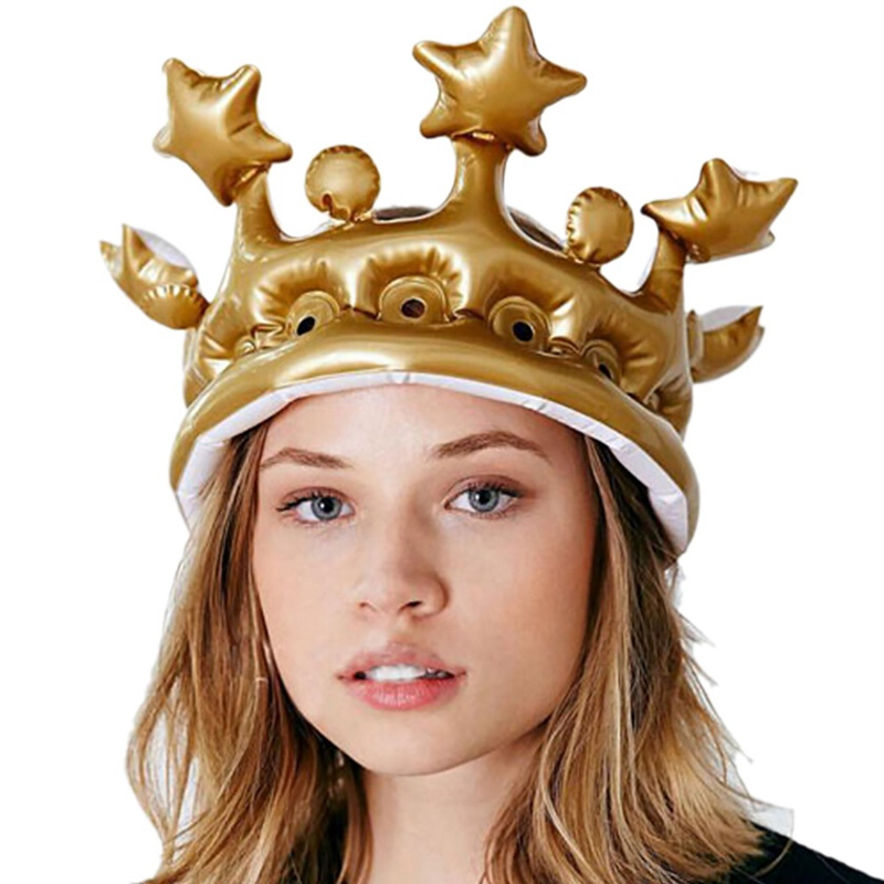 "11/"" Kids Childrens Gold Inflatable Crown King Day Novelty Fancy Dress Party Hat"