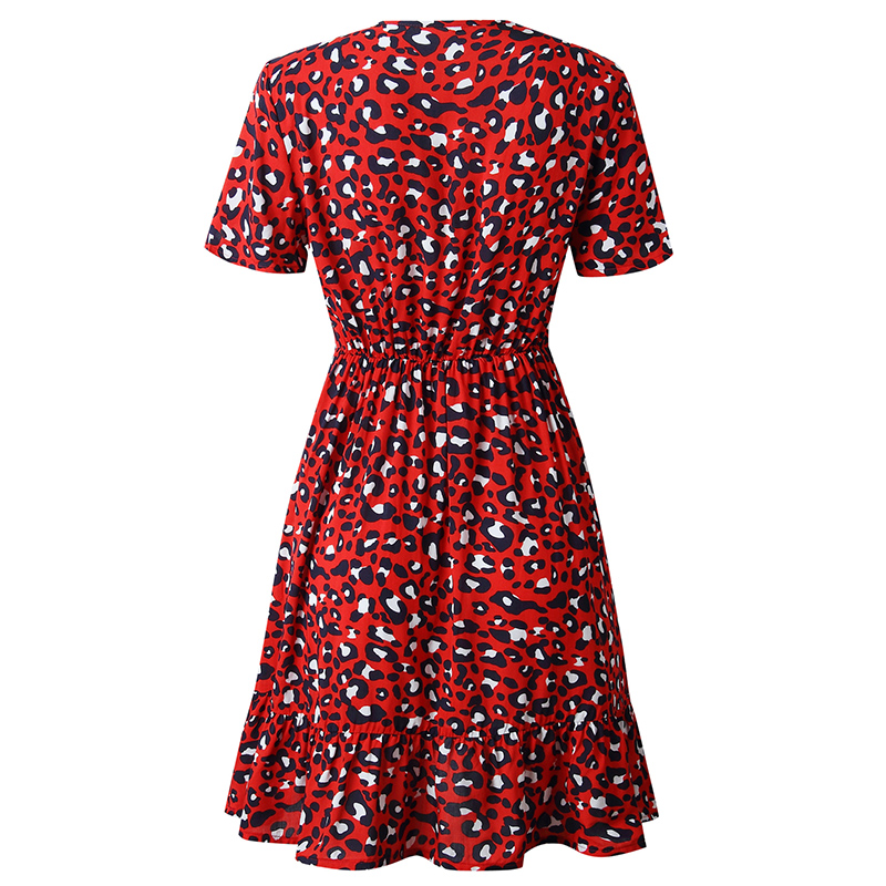 Forefair Print Leopard Dress sexy women short sleeve v neck Ruffle high waist Hem mini a line casual summer dress 2019 vestidos (32)