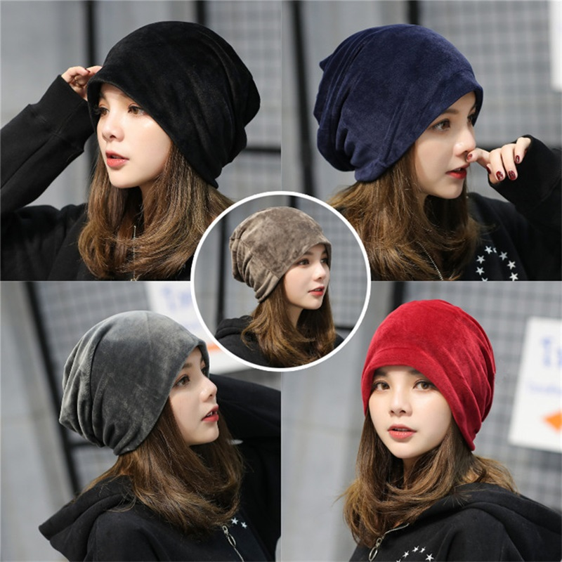 GHTTKY Autumn and Winter Hat Solid Cap Baggy Beanies Outdoor Bonnet Acrylic Hat for Men Women Soft Knitted Warm Khaki