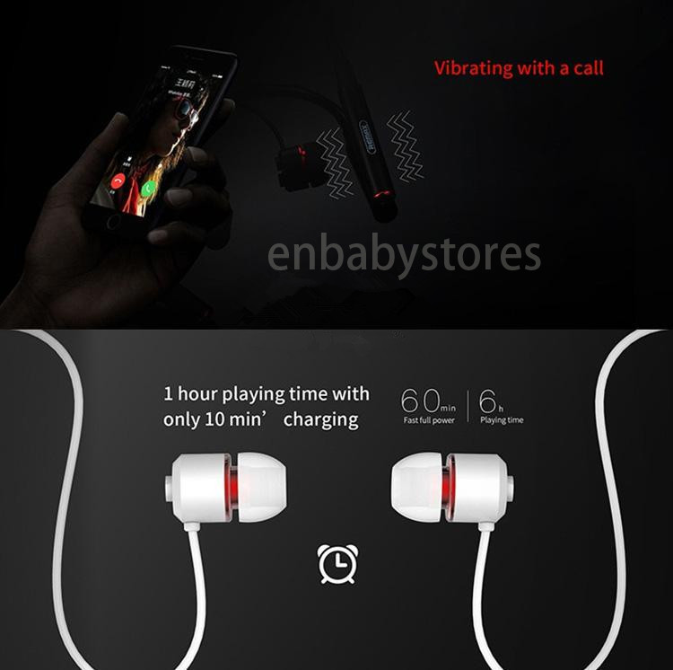Remax RB S6 Sports Neckband Bluetooth Headset Wireless Stereo Earphone Music Headphone Bluetooth V4.1 HD Mic Multi Connections