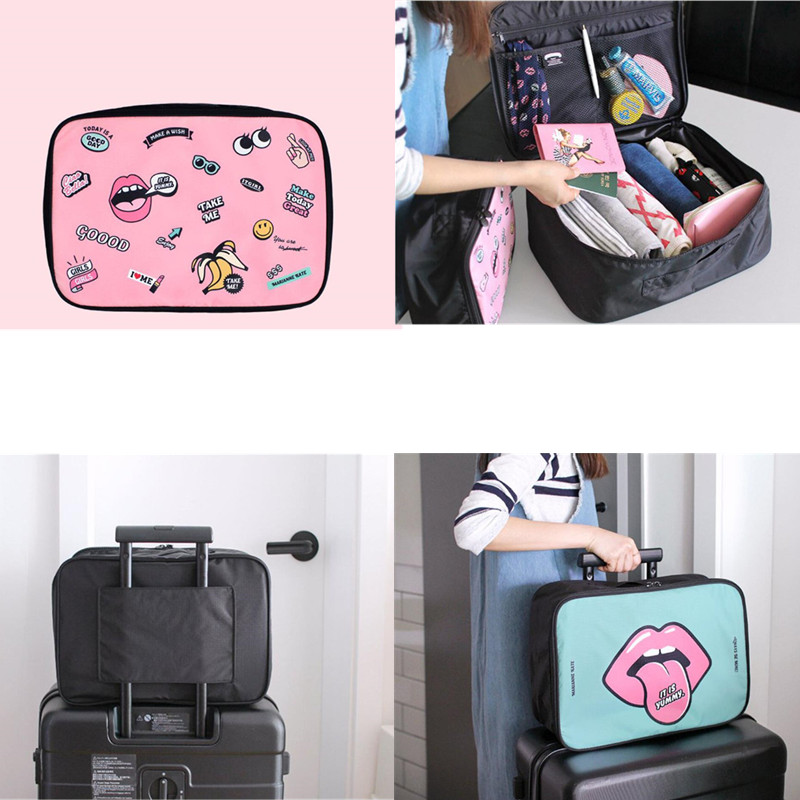 Travel Luggage Duffle Bag Lightweight Portable Handbag Mouth Lipstick Pattern Large Capacity Waterproof Foldable Storage Tote