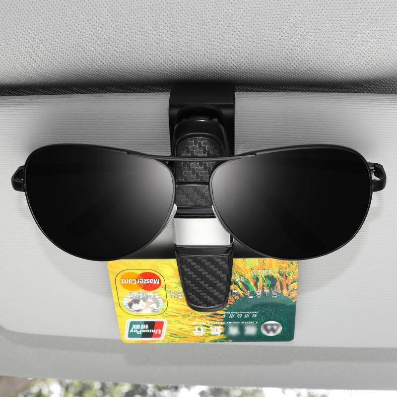 CHIMUYU Glasses Holder for Car Sun Visor 180 Degree Rotatable Car Eyeglasses Sunglasses Hanger Mount with High Capacity Ticket Card Storage 2