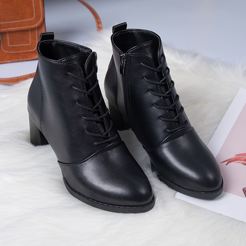 1 Élégant Bottes Femmes 2019 Croix Attaché Bout Pointu Bottines Pour Les Femmes Zipper Pu En Cuir Bottes Courtes Chaussures Botines Mujer