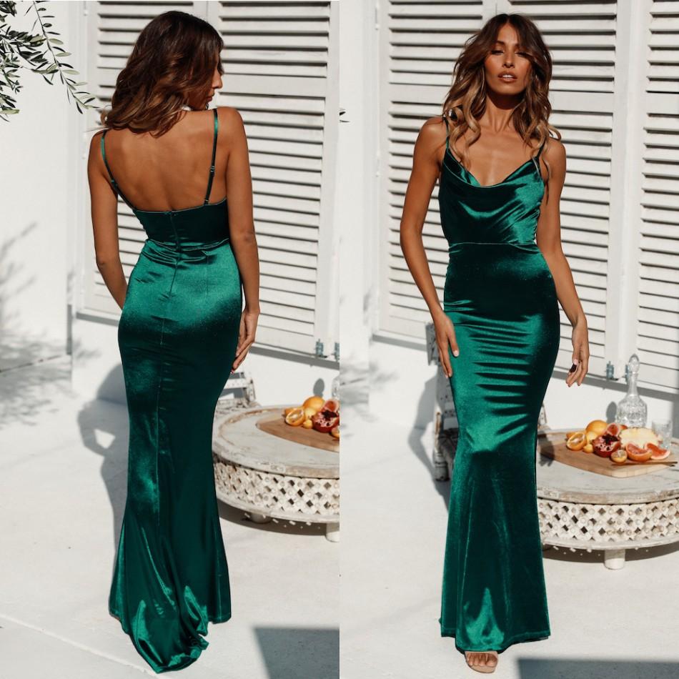 günstige dark green mermaid prom kleider sexy open back 2019 lange abend  vestidos pageant kleider bm0916